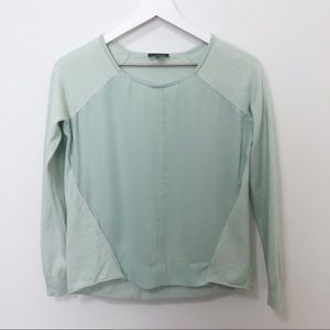 Vince Camuto Mint Green Chiffon Sweater Blouse